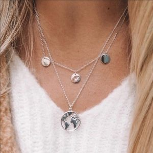 Silver Layered World Trendy Necklace